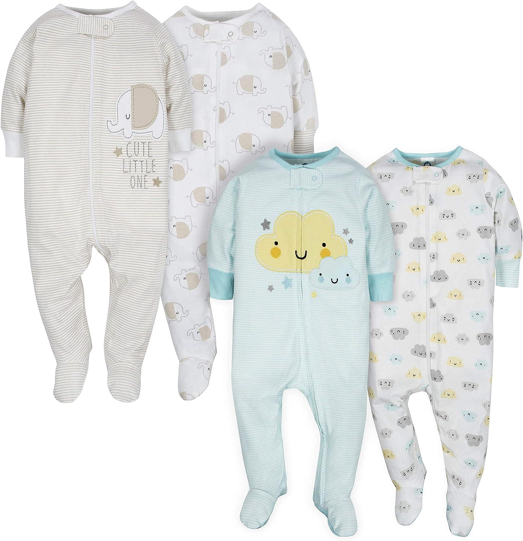 GERBER Baby 4 Pack Sleep N' Play Footie, Clouds/Elephant, 3-6 Months: Clothing