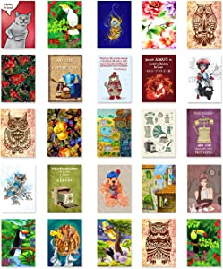 ILLUSTRATIONS postcard set of 50 postcards. Variety pack of fifty post cards, each depicting an illustration. Made in USA.