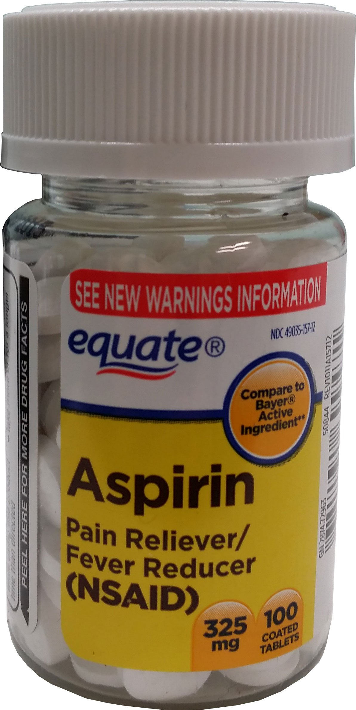 Equate Aspirin Tablets 325 Mg Pain Reliever/Fever Reducer 100 Ct