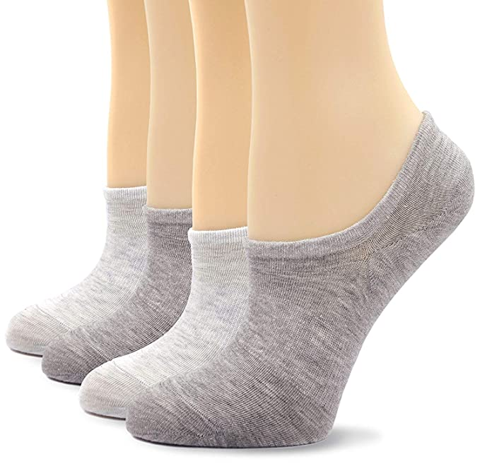 PUTUO Calcetines Invisibles Mujer Calcetines Corte Bajo Con Silicona Antideslizante, 5 pares (Multicolor-4 pares): Amazon.es: Ropa y accesorios