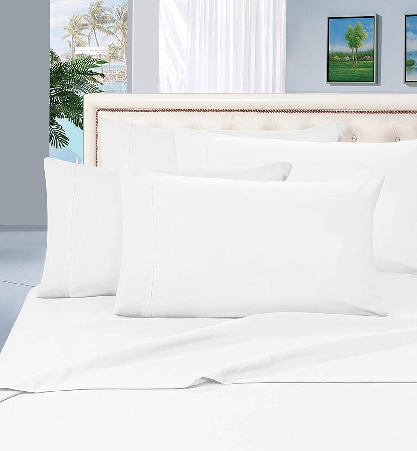 Elegant Comfort 2 Piece Luxurious Silky-Soft Pillowcases, King, White 110RW-PCASE-King White