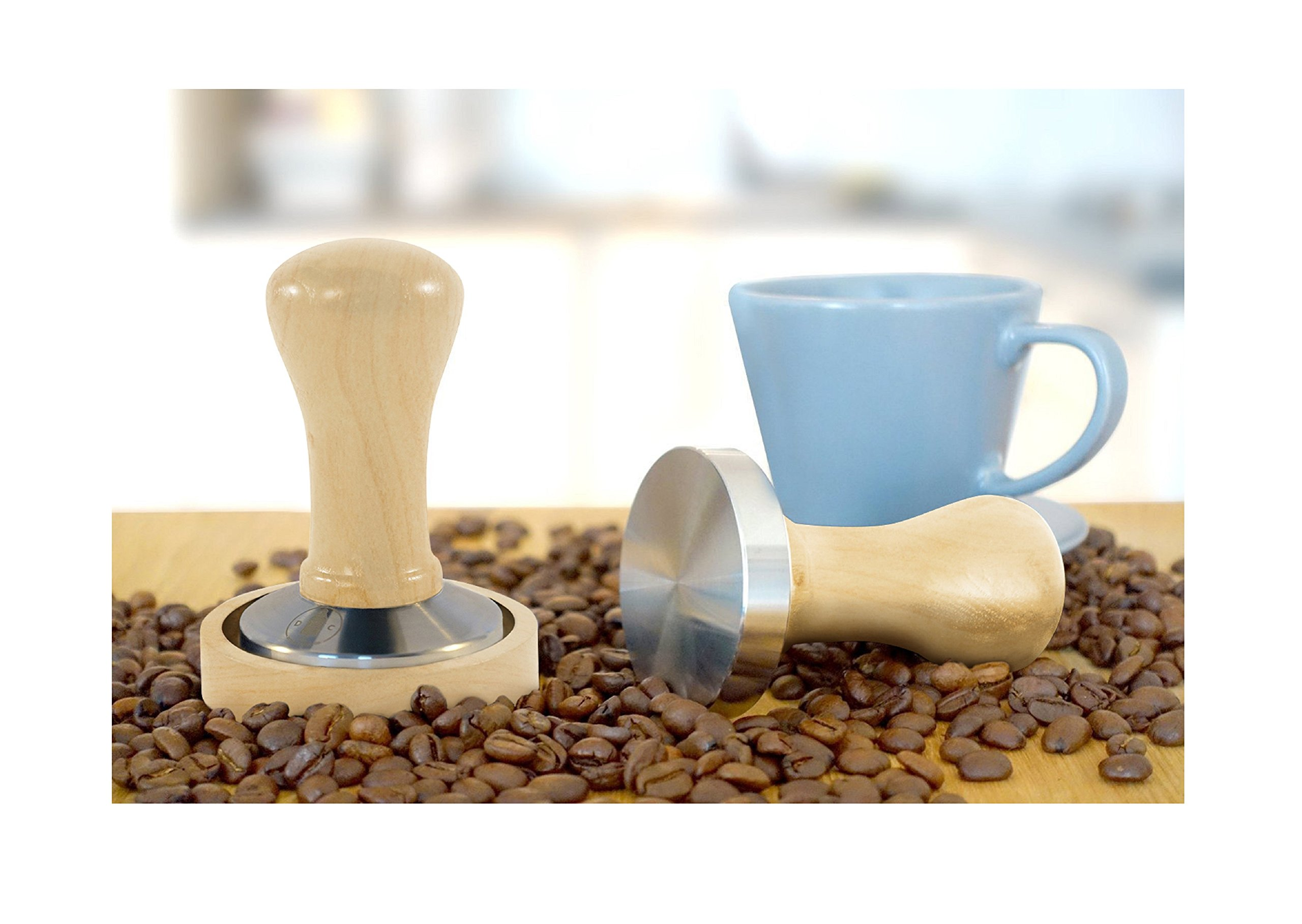 Coffee Tamper 58 Dutch Coffee Co. Premium Design - Espresso Tamper 58mm Stainless Steel Base with Solid Wood Handle & Matching Stand - Barista Tools and Equipment - Latte Pro by Dutch Coffee Co. (Image #7)
