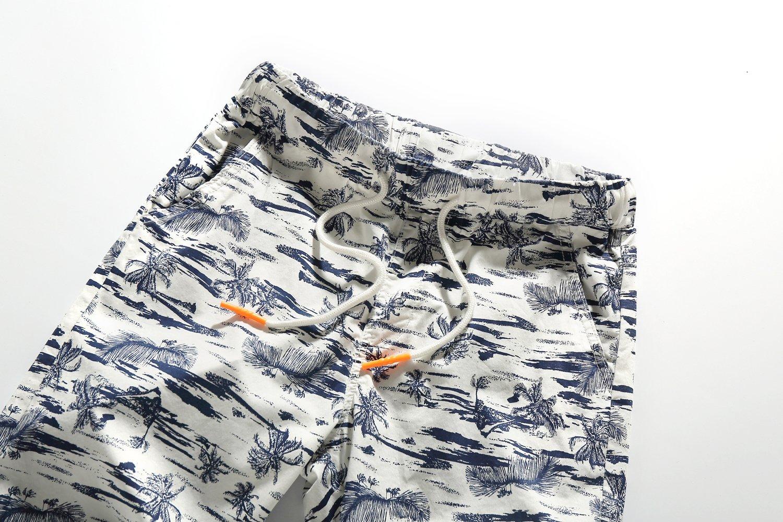 SSLR Men's Flat Front Hawaiian Casual Drawstring Board Shorts (34, White) by SSLR (Image #3)