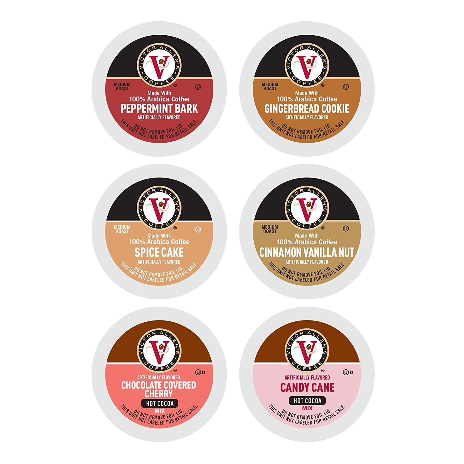 Victor Allen's Coffee and Cocoa Flavored Holiday Variety Pack (Peppermint Bark, Gingerbread Cookie, Candy Cane and Hot Cocoa), 96 Count Single Serve Coffee Pods for Keurig K-Cup Brewers