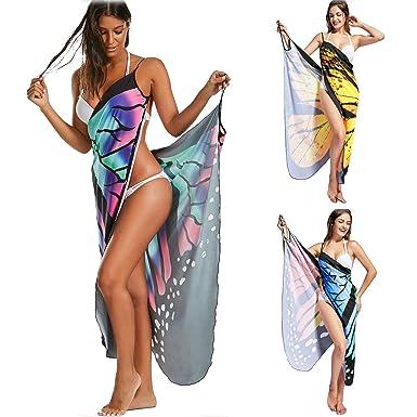 d17c292bdf Swimwear Cover Up Beach Dress Beachwear Bikini Sarongs Colorful Butterfly  Wing Bikini Cover Up Women Swimwear  Amazon.co.uk  Clothing