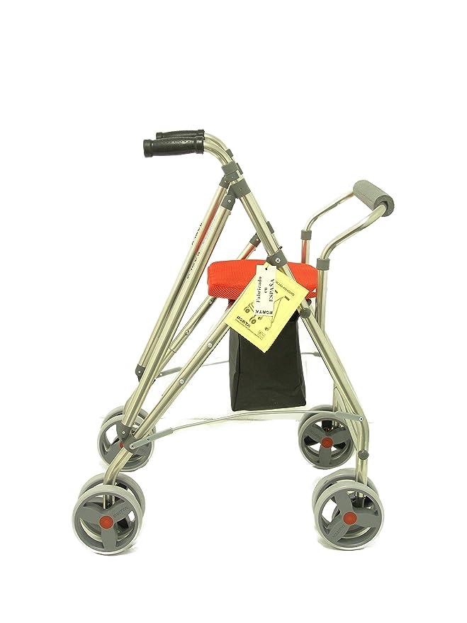 Forta fabricaciones - Andador de 4 ruedas para ancianos Kanguro FORTA - Kanguro HD, Naranja
