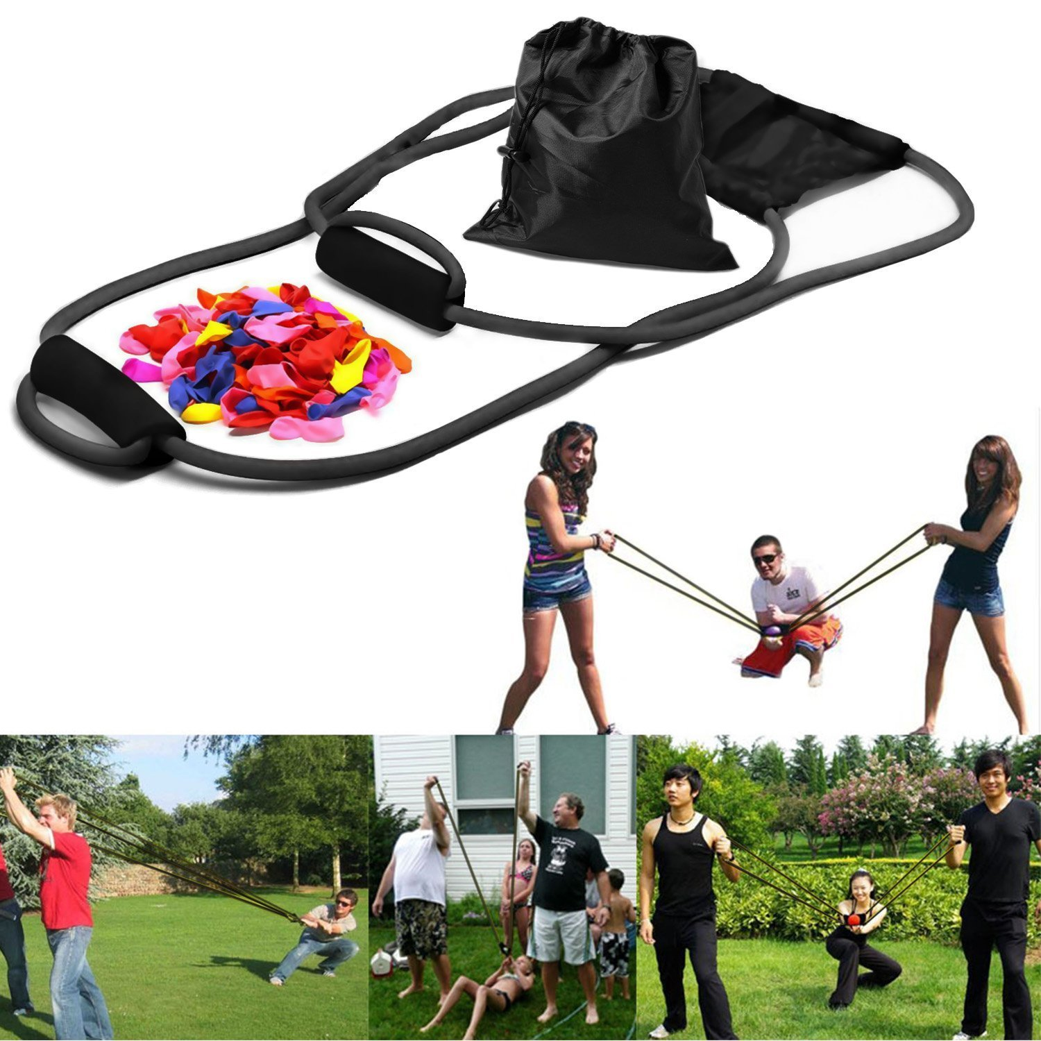 YHMALL 3 Person Water Balloon Launcher with 100 Water Balloons, Catapult/Cannon Slingshot Free Balloons. Outdoor Game for Kids and Adults.
