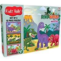 Kidz Valle Dino World 3 x 12 Pieces (Jigsaw Puzzles, Puzzles for Kids, Floor Puzzles), Puzzles for Kids Age 3 Years and Above. Size: 18.4 cm x 13.3 cm Set of 3 Puzzles