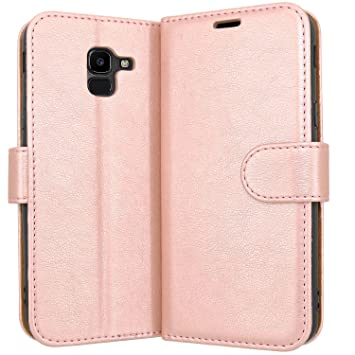 online retailer 63f10 708c7 Case Collection Premium Leather Folio Cover for Samsung Galaxy J6 Case 5.6