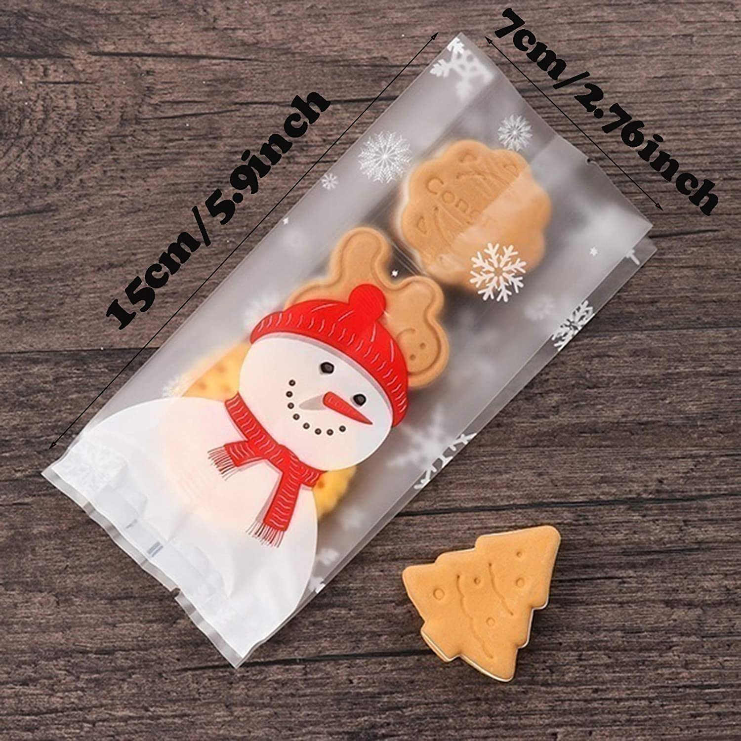 DAZAIGE 100 Pieces Christmas Cookies Bags Cute Christmas Snowman Treat Bag Plastic Gift Wrapping for Storing Cookie Chocolate Cake Bakery Candy Biscuit Dessert Christmas Party New Year Baking Supplies
