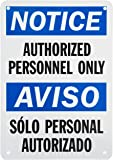 """SmartSign Plastic OSHA Safety Sign, Legend """"Notice: Authorized Personnel Only"""", 10"""" high x 7"""" wide, Black/Blue on White"""