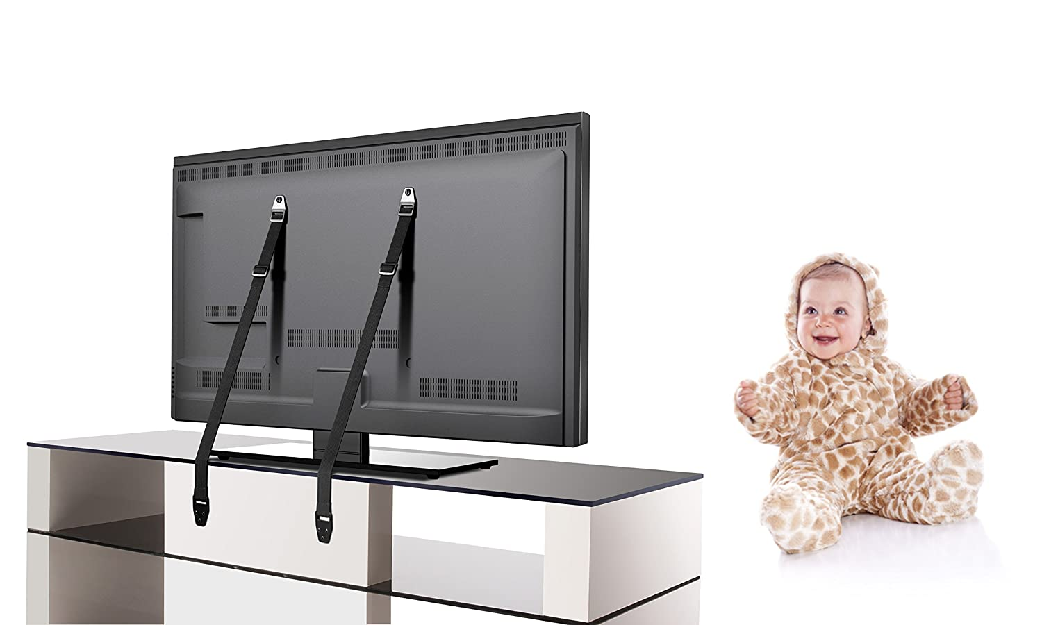 2 pcs + screws Furniture and All Other Equipment TV Safety Strap // Anti-tip TV Strap Protect Your Flat Screen TV Premium Bundle by Teddykins Order Safety Wall Strap // Mount for a Safer Home!