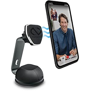 Naztech MagBuddy Magnetic Desktop Cell Phone Mount. Easy Access To Apps, Messages, Emails, Photos & Videos. Use At Workplace, Home, For iPhone X /8/8 Plus, Samsung S9 / S9+/ Note 8 /Smartphones & More