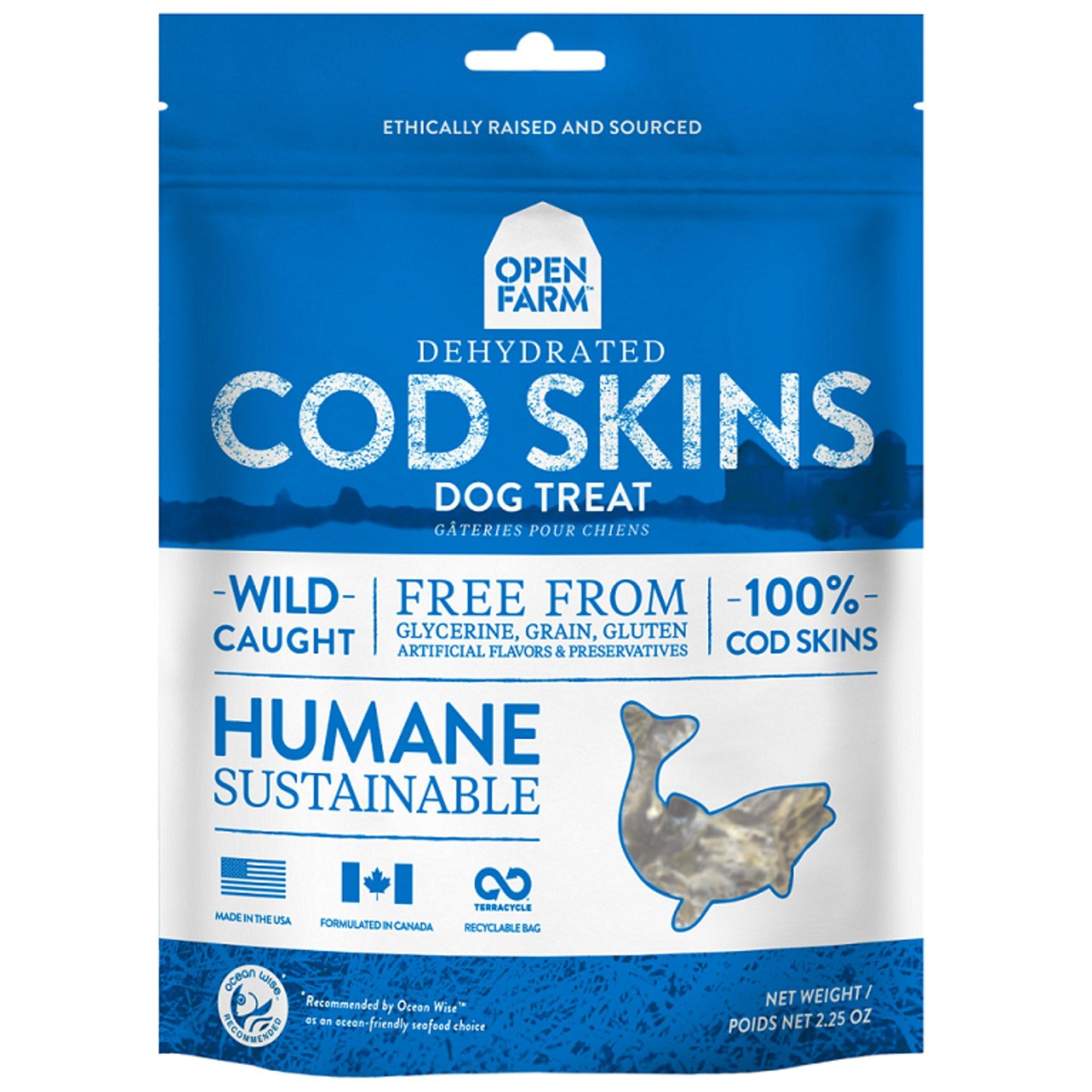 Open Farm Grain-Free Dehydrated Cod Skins Dog Treats 2.25 Ounces