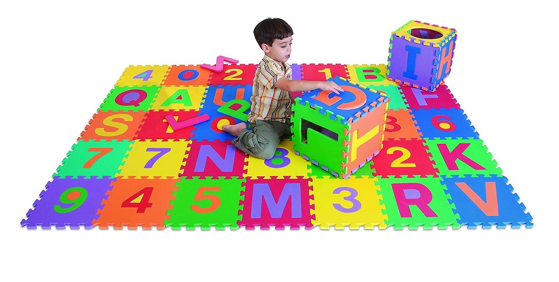 B002FKAMLA Edushape Edu-Tiles Letters & Numbers Play Mat, 36 Piece 8182BE0zFfVL