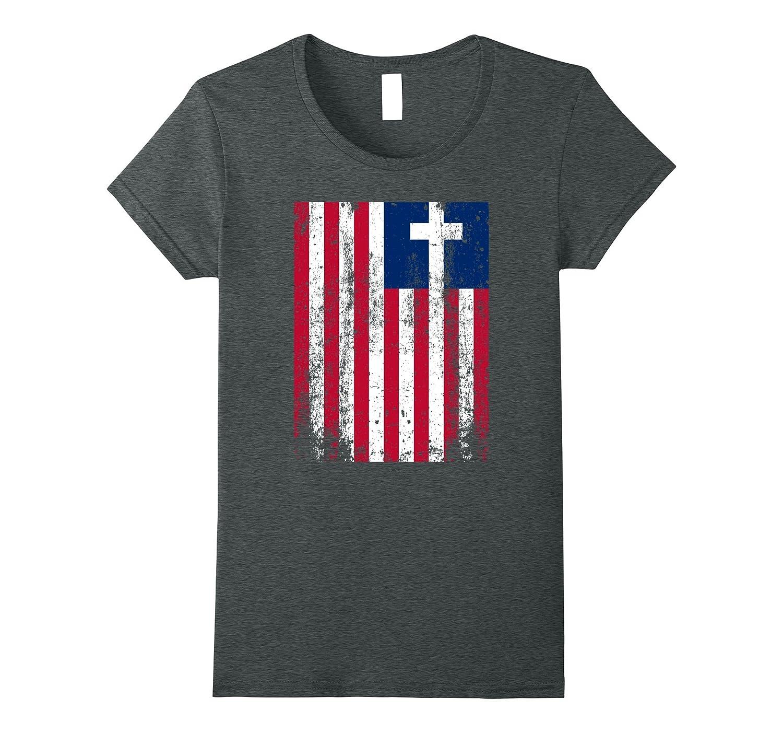 AMERICAN FLAG CROSS PATRIOTIC USA CHRISTIAN Veteran T-SHIRT