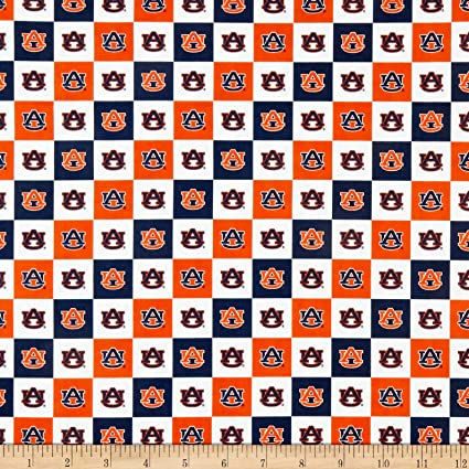 Sykel Enterprises Collegiate Cotton Broadcloth Auburn University Block Print Navy Fabric by The Yard,