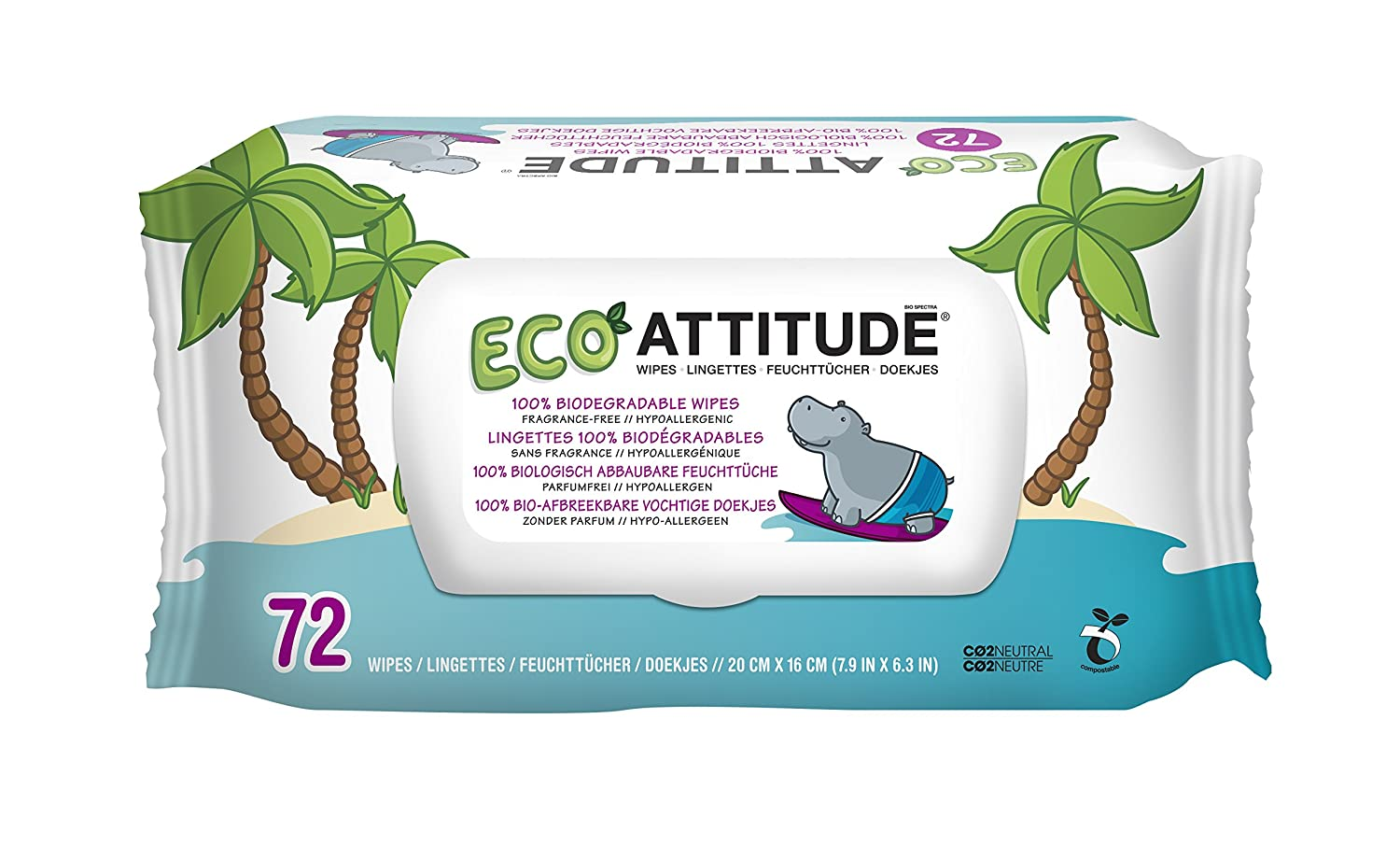 ATTITUDE Fragrance-Free Eco-Baby Wipes, 216 Count (Pack of 6)