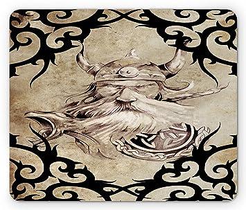Cojín de ratón de Viking, modelo del tatuaje con el efecto antiguo ...
