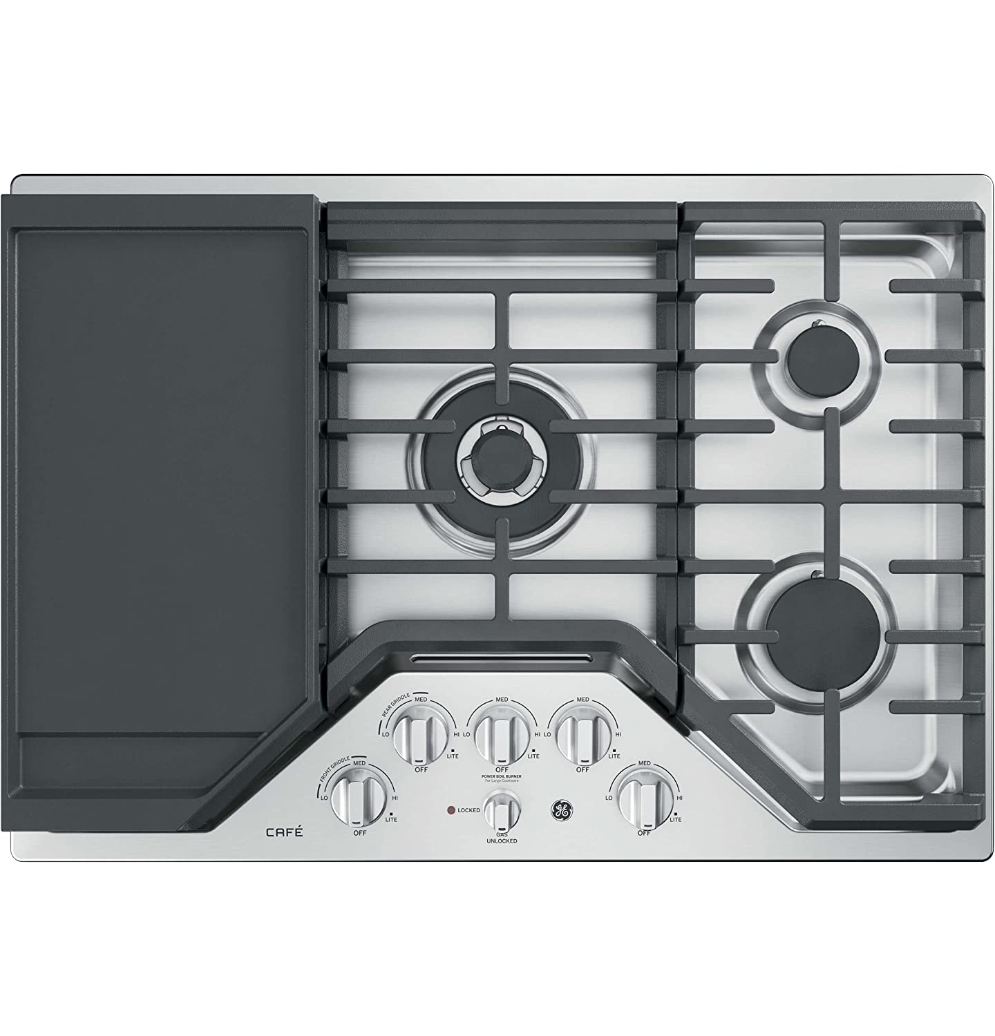 GE Cafe 30' Gas Cooktop Stainless Steel 5 Burner w/ Griddle CGP9530SLSS
