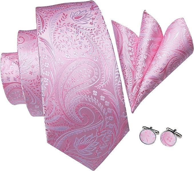 Hi-Tie Paisley corbata pañuelo gemelos Jacquard tejido de seda ...