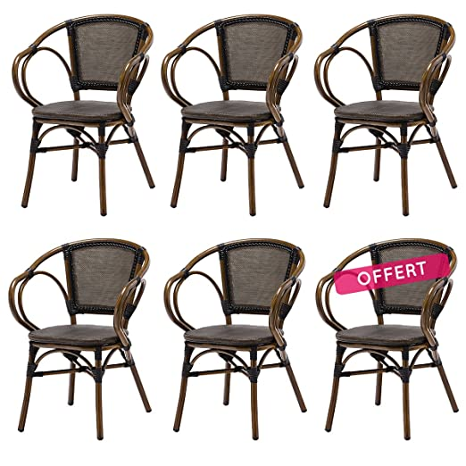 Rotin Design Lote 6 sillones Bistro Elie - Aluminio y ...