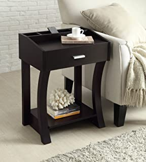cappuccino finish wooden chair side end table shelf with drawer