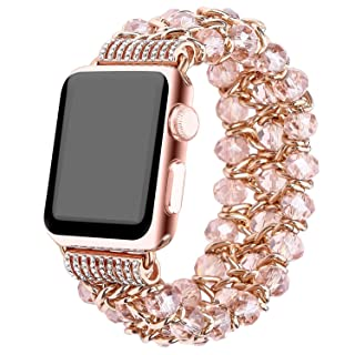 Apple Watch Band 38mm, Fashion Handmade Elastic Stretch Crystal Beaded Bracelet Metal Chain Women Girls Strap Wristband for Apple Watch Series 3/2/1, Edition,Sports (pink-38mm)