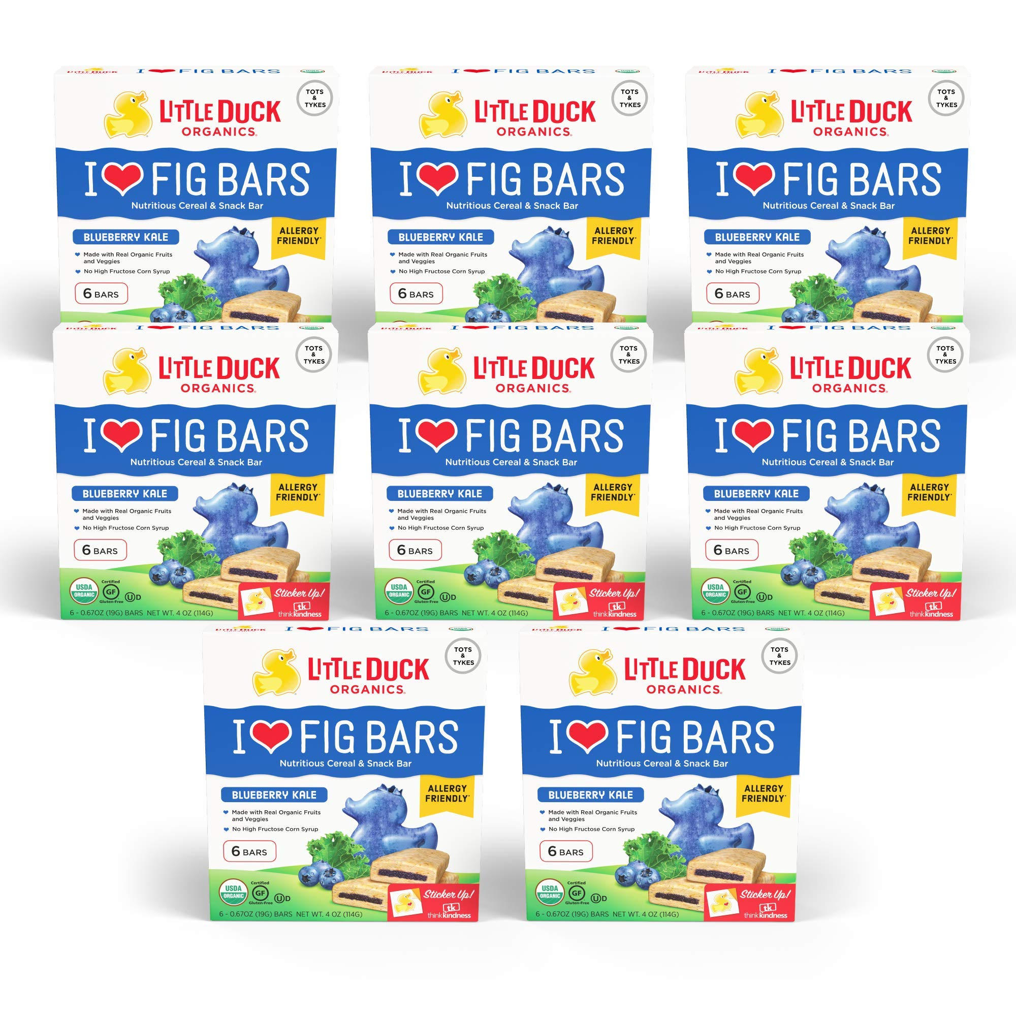 Little Duck Organics, I Love Fig Bars, Nutritious Cereal & Snack Bar, Blueberry Kale, 8 Boxes