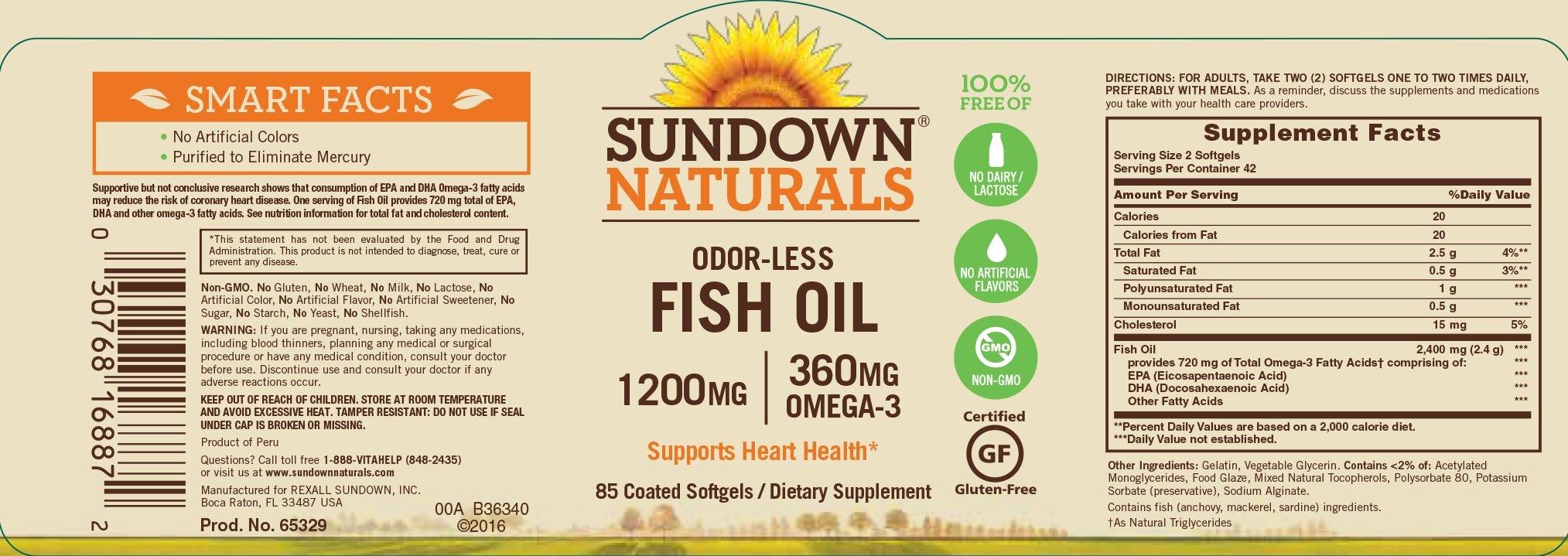 Sundown Naturals Odor-Less Fish Oil 1200mg, 85 Softgels Each(Pack of 12)