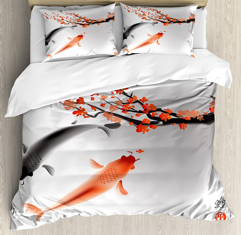 Ambesonne Japanese Duvet Cover Set, Koi Carp Fish Couple Swimming with Cherry Blossom Sakura Branch Culture Design, Decorative 3 Piece Bedding Set with 2 Pillow Shams, King Size, Orange Grey