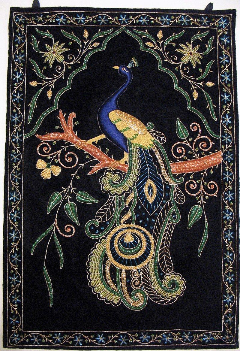 NovaHaat Peacock Wall Hanging Rug Jewel Carpet Kashmir Hand Embroidery Indian Room Decor 36 Inch x 24 Inch