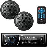Pyle Marine Headunit Receiver Speaker Kit - In-Dash LCD Digital Stereo Built-in Bluetooth & Microphone w/ AM FM Radio System 5.25'' Waterproof Speakers (2) MP3/SD Readers & Remote Control - PLMRKT46BK