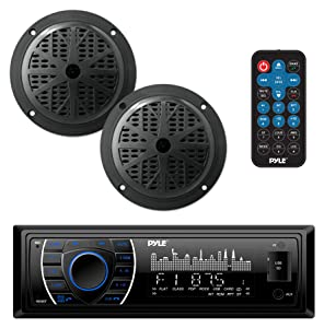 Pyle Marine Headunit Receiver Speaker Kit - In-Dash LCD Digital Stereo Built-in Bluetooth & Microphone w/ AM FM Radio System 5.25'' Waterproof Speakers (2) MP3/SD Readers & Remote Control - PLMRKT46BK