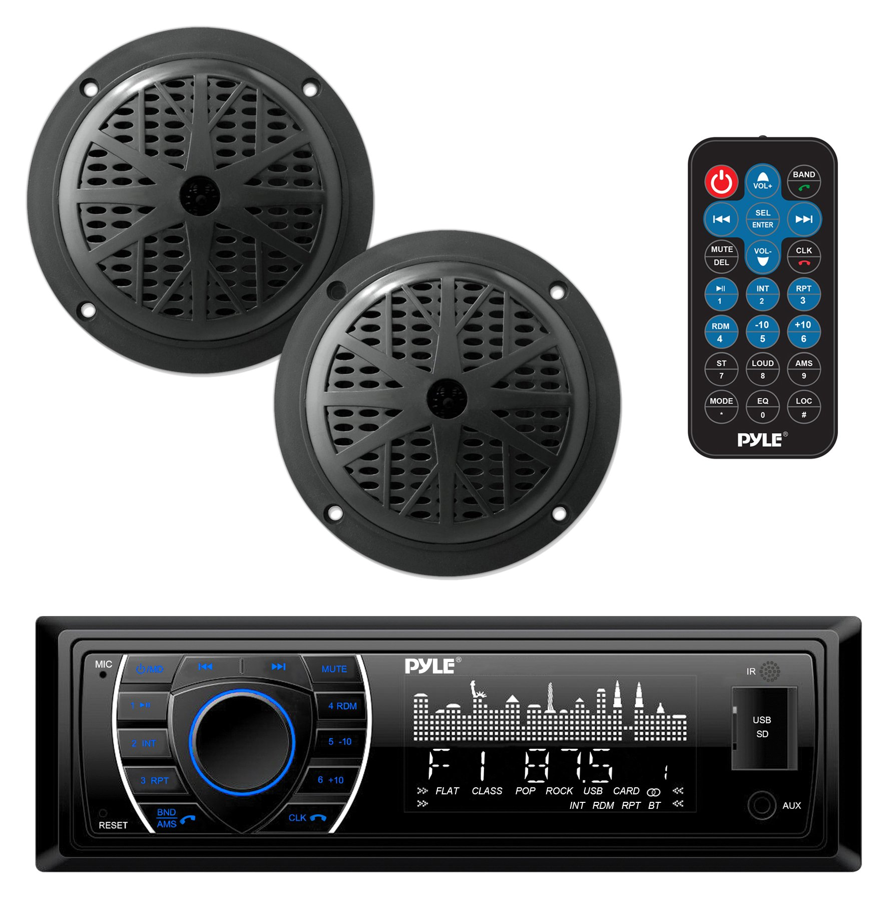 Marine Headunit Receiver Speaker Kit - In-Dash LCD Digital Stereo Built-in Bluetooth & Microphone w/AM FM Radio System 5.25'' Waterproof Speakers (2) MP3/SD Readers & Remote Control - Pyle PLMRKT46BK