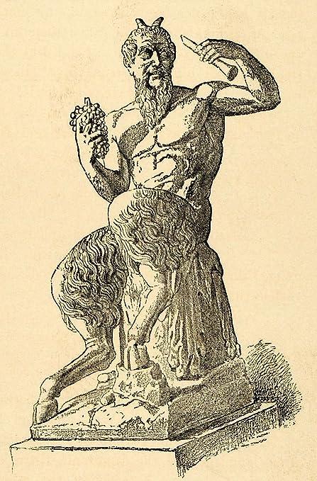 1890 Wood Engraving Pan Faun Marble Statue Grapes Flute Greek Deity