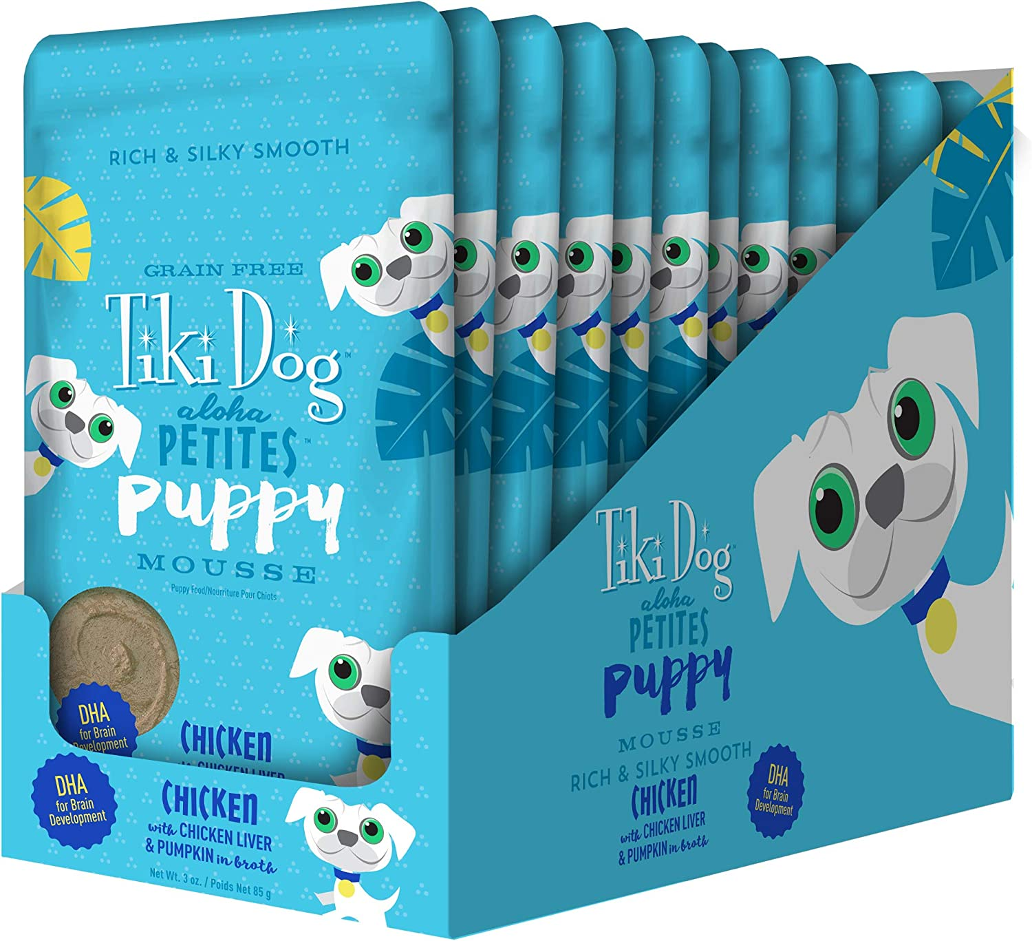 Tiki Pets Aloha Petites Grain Free Wet Dog Food, Pouches with Shredded Meat & Superfoods for Small or Large Dog Treats