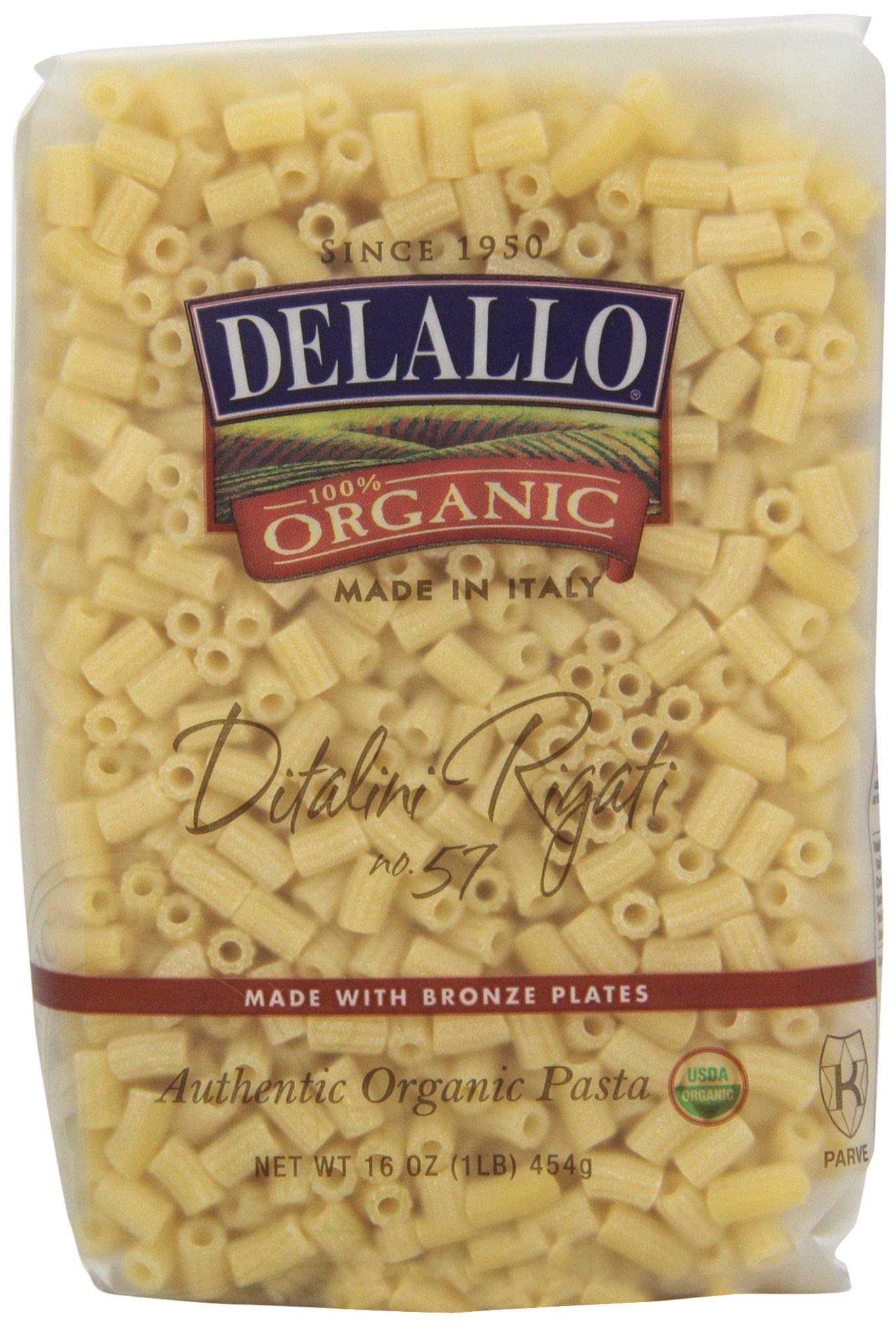 DeLallo Organic Ditalini Rigati #57, 16-Ounce Units (Pack of 16)