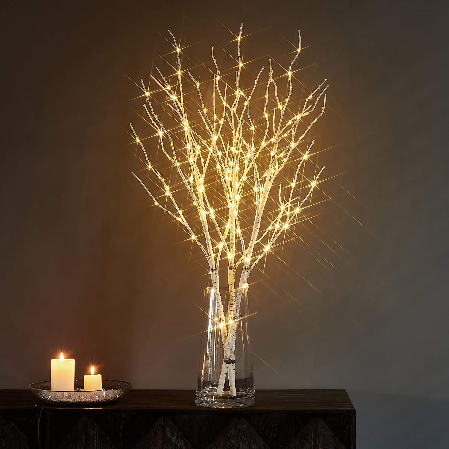 Litbloom Lighted Twig Branches With Timer And Dimmer Tree Branch With Warm White Lights For Christmas Holiday And Party Decoration 32in 150 Led Waterproof Plug In Kitchen Dining