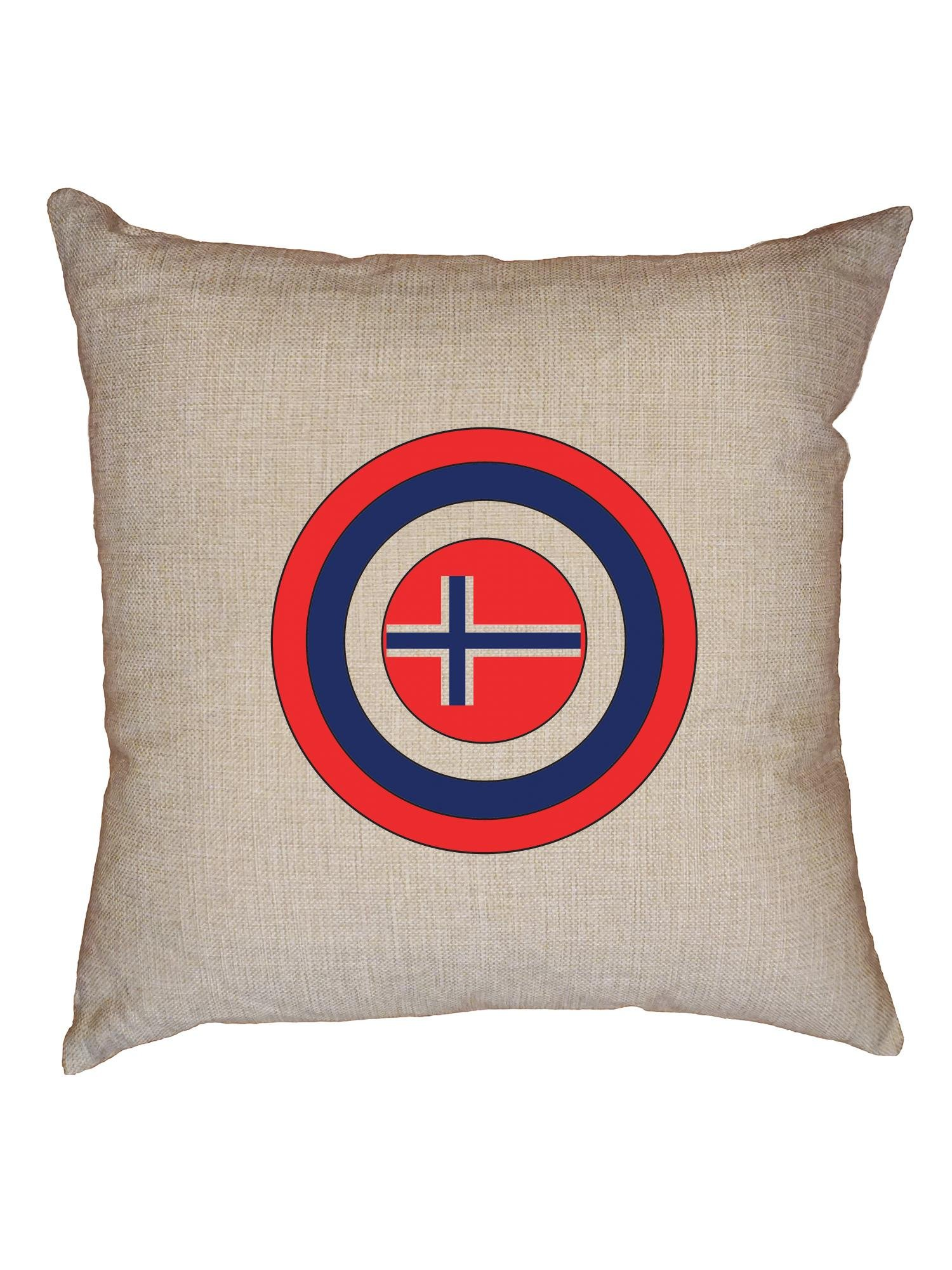 Hollywood Thread Cool Geeky Captain Norway Shield in America Decorative Linen Throw Cushion Pillow Case with Insert