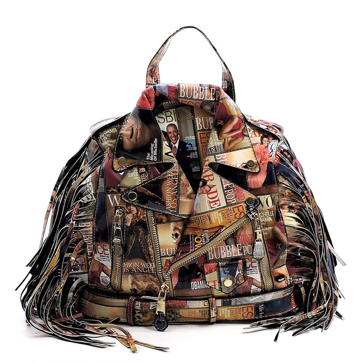 Glossy Magazine Cover Collage Motorcycle Jacket Fringe Backpack Michelle Obama Handbag (Multi) by Elphis