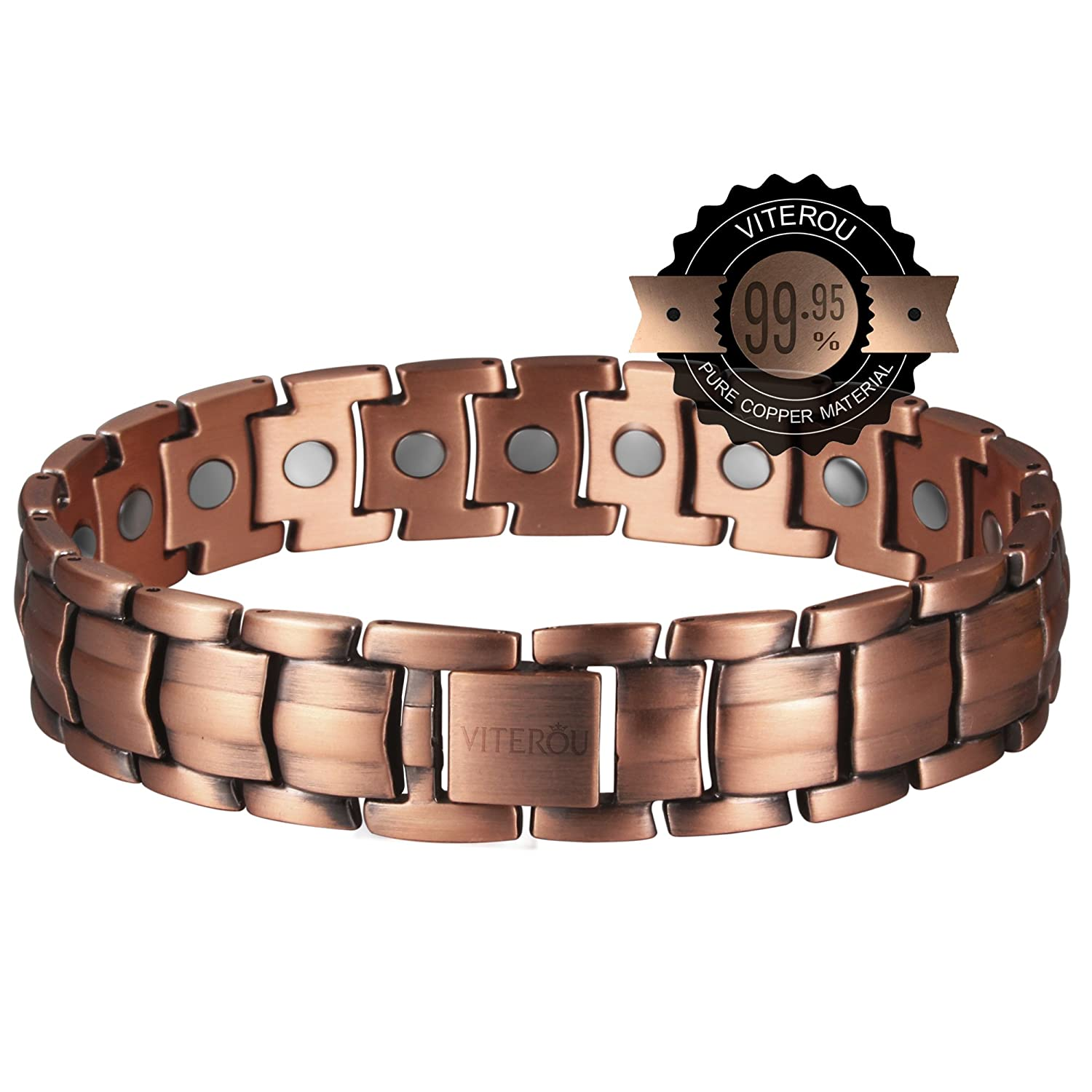 Amazon: Viterou Mens Magnetic Pure Copper Bracelet With Magnets For  Arthritis Pain Relief,3500 Gauss: Viterou: Jewelry