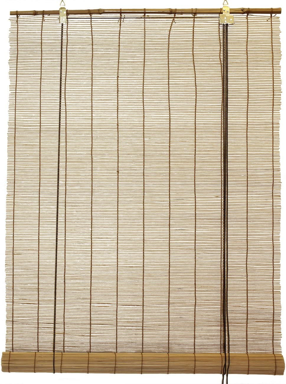 Seta Direct, Natural Bamboo Matchstick Roll Up Window Blind 84-Inch Wide by 66-Inch Length Light Brown