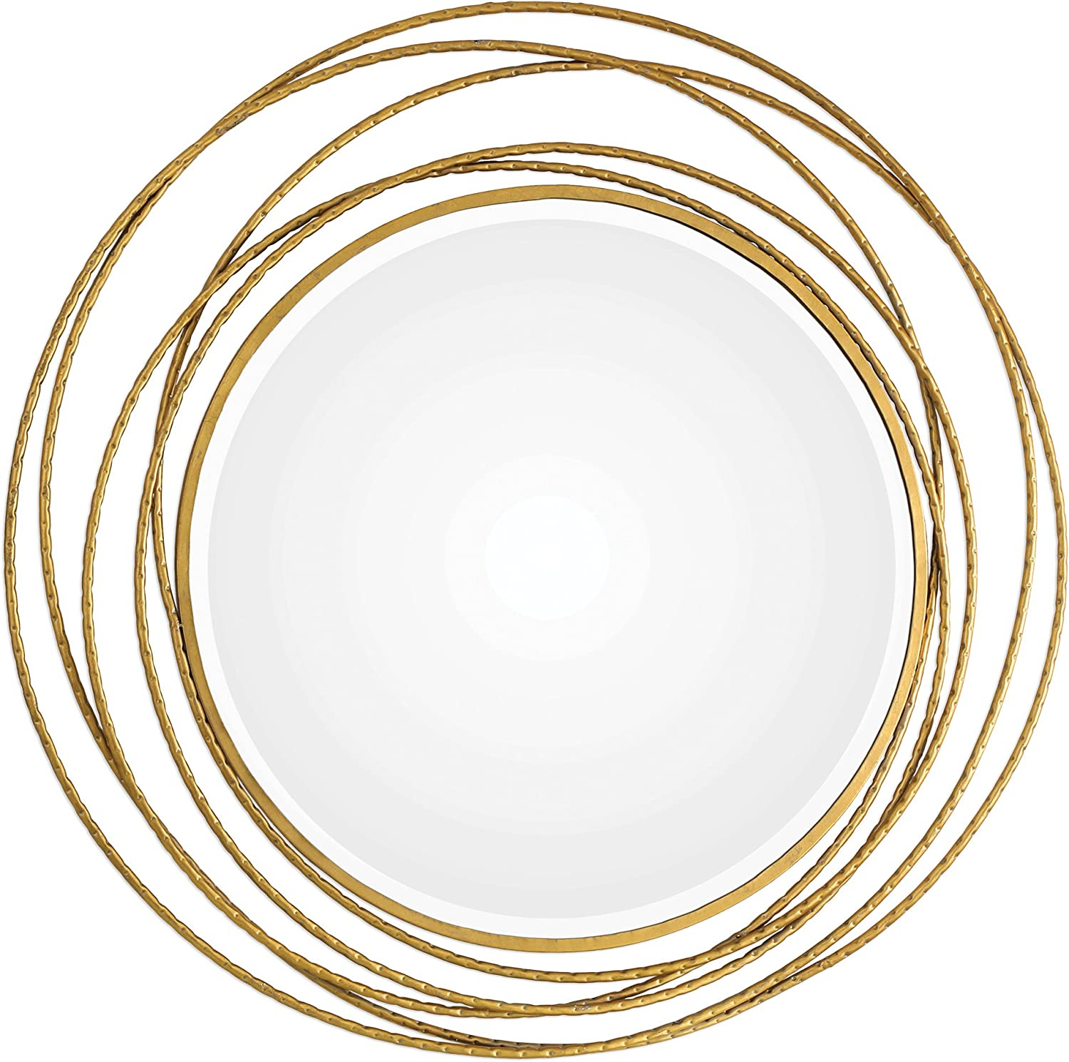 Amazon Com My Swanky Home Gold Swirl Rings Modern Wall Mirror 39 Round Abstract Open Mid Century Metal Home Kitchen
