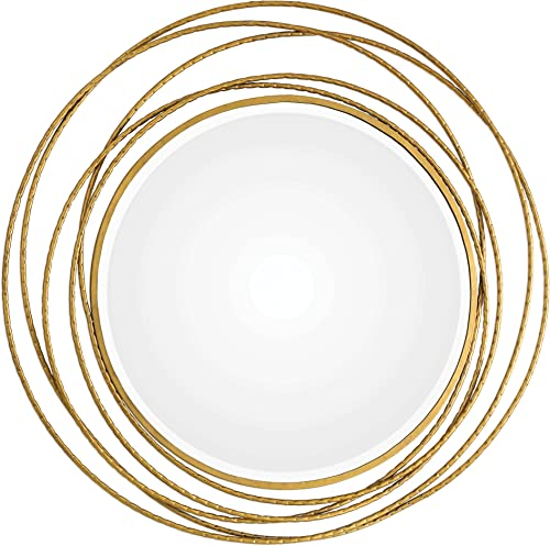 MY SWANKY HOME Gold Swirl Rings Modern Wall Mirror 39 Round Abstract Open Mid Century Metal