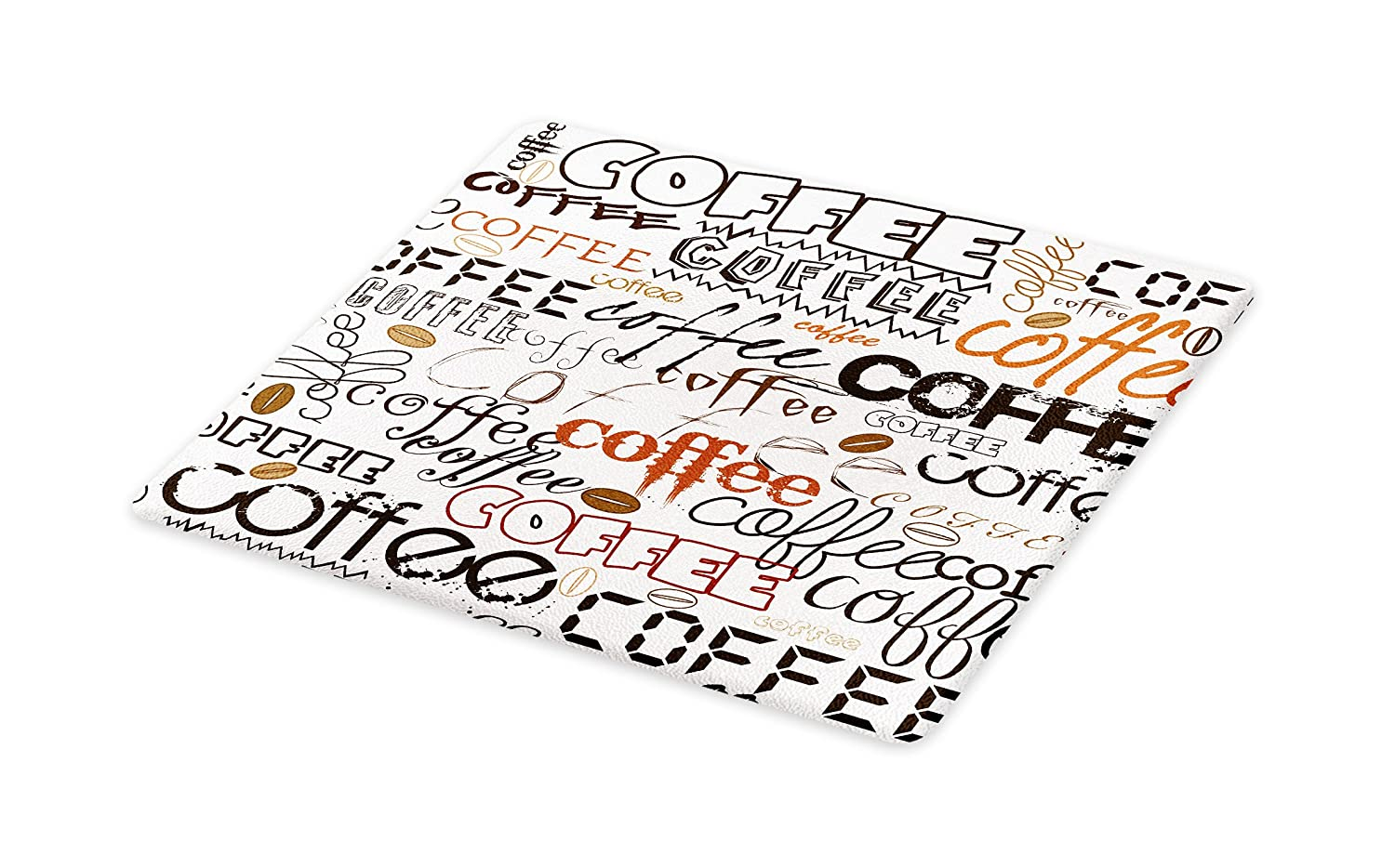 Lunarable Coffee Cutting Board, Coffee Letterings Morning Time Drink Aroma Traditional Typographic Stylized Print, Decorative Tempered Glass Cutting and Serving Board, Large Size, Black Brown