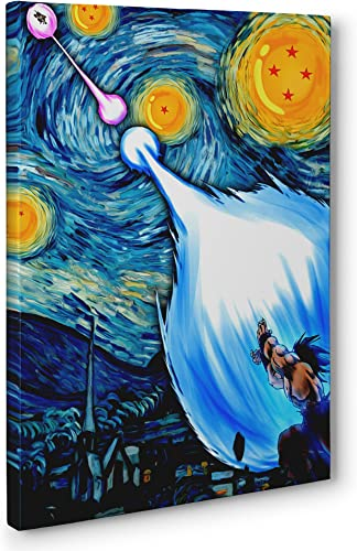 S-ANT Dragon Ball Z Starry Night Framed Canvas Print Poster Wall Art Ready to Hang 32x48in.
