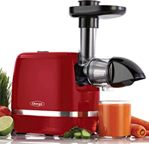 Omega H3000RED Juicer Cold Press 365 Slow Masticating Easy to Clean, Quiet Motor, High Juice Yield and Preserves Nutritional Value, Fruits, Vegetables and Leafy Greens, 150-Watt, Red