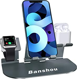 3 in 1 Charging Stand for Apple Watch Series SE/6/5/4/3/2 ,Adjustable Aluminum Phone Charger Dock Station Compatible with iPad Pro, AirPods Pro/2/1,iPhone 12/11/Pro/Xs Max/XR/X/8/7/6s Plus