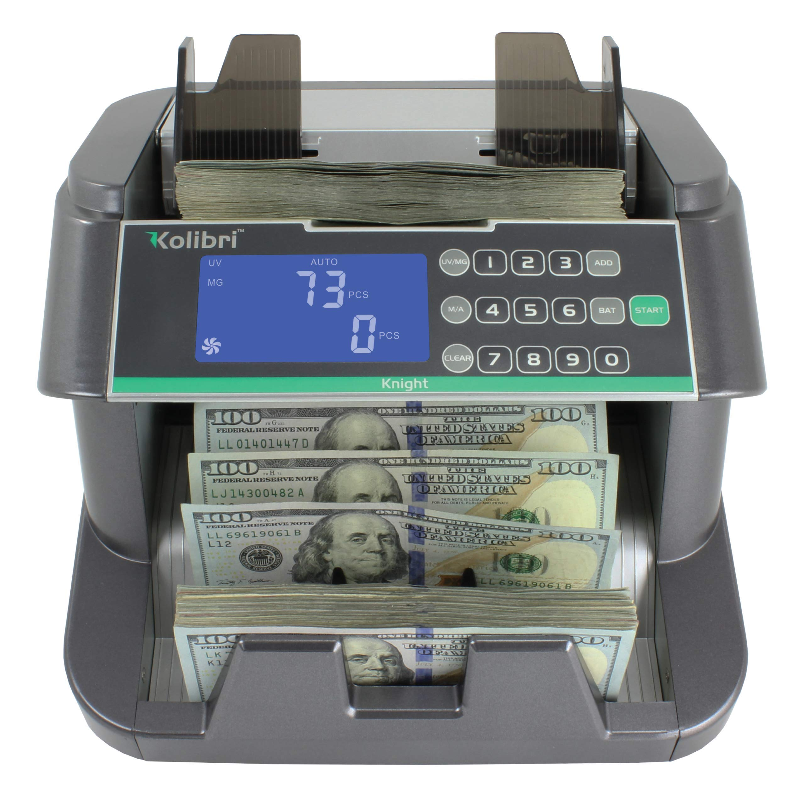 Kolibri Knight Money Bill Counting Machine with UV, MG, IR, HF, DB Counterfeit Detection, Top Loading Cash Counter with Batch and Add Modes - Speed 1,250 Notes/Min – US-Based Company & 1-Year Warranty
